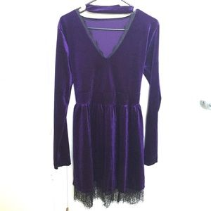 Purple velvet and lace dress with choker